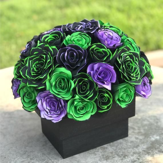 Centerpiece in Black & Lime Green and Purple Handcrafted Paper Flowers for a Wed #paperflowercenterpieces Centerpiece in Black & Lime Green and Purple Handcrafted Paper Flowers for a Wed #paperflowercenterpieces