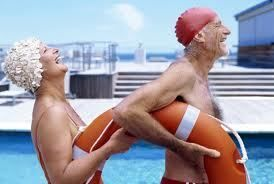 Happy Old Couple Having Fun At Poolside Old Couples Growing Old
