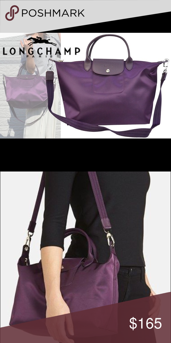 Longchamp  Medium Le Pliage Neo  Nylon Tote Gently used. Bilberry color.  More pictures coming soon! Longchamp Bags Crossbody Bags 064176316b53d