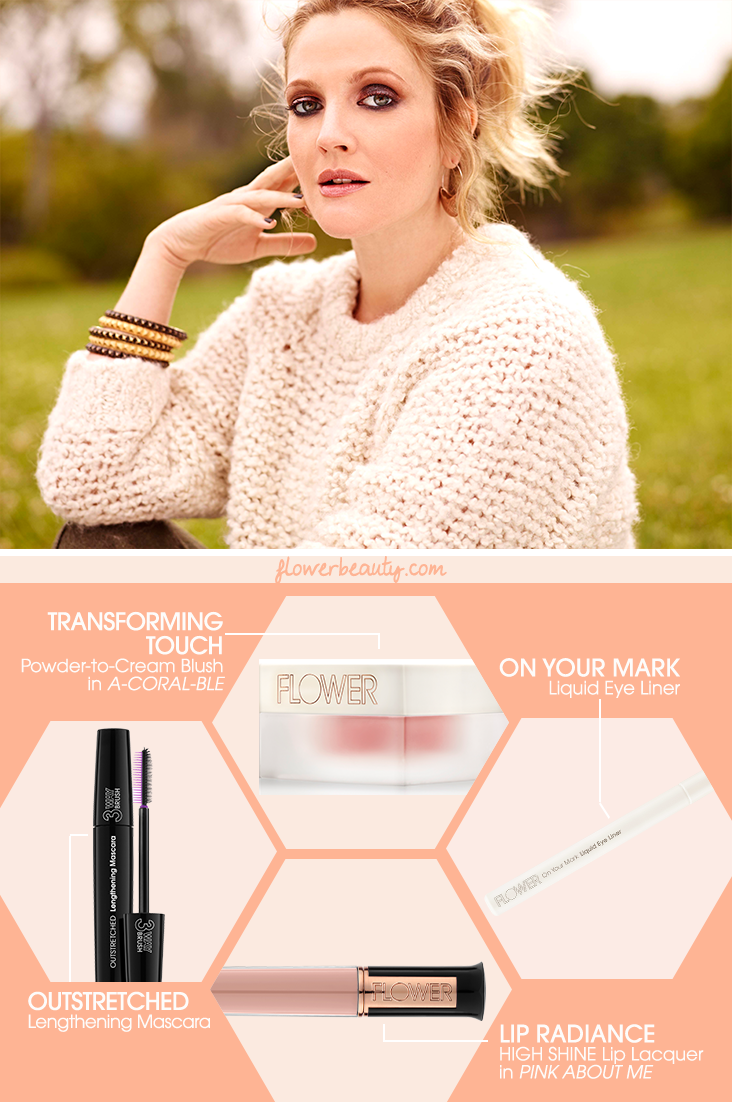 Get The Look Drew Barrymore Wears A Full Face Of Flower Beauty