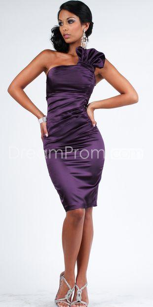 Elegant Sheath/Column One-Shoulder Knee-Length Cocktail/Homecoming Dress