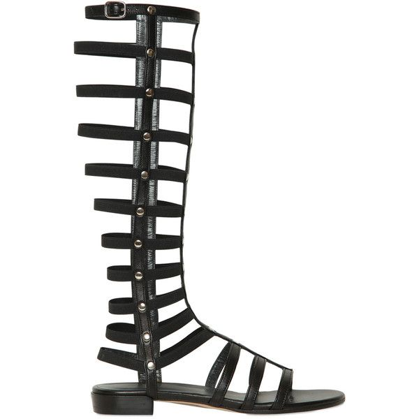 Stuart Weitzman Women 10mm Leather & Elastic Gladiator