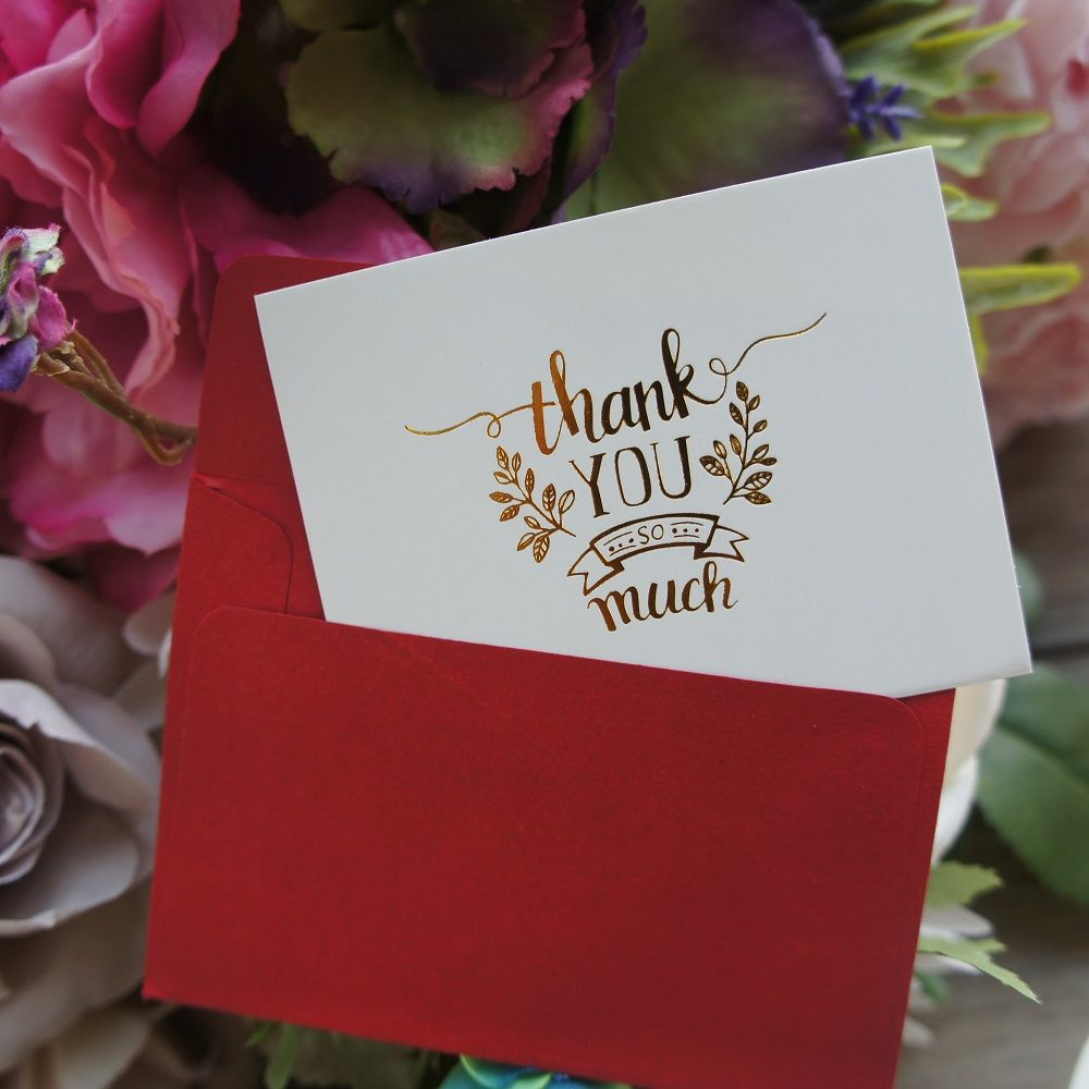 25pcs Mini thank you Card gold with red envelope leave message cards ...