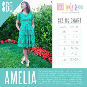 Here is the sizing chart for the LuLaRoe Amelia Dress