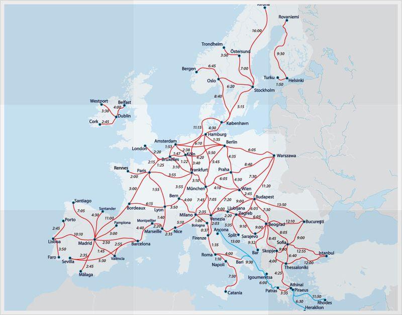 European Railway Map | Interrail map, Europe train, Train route