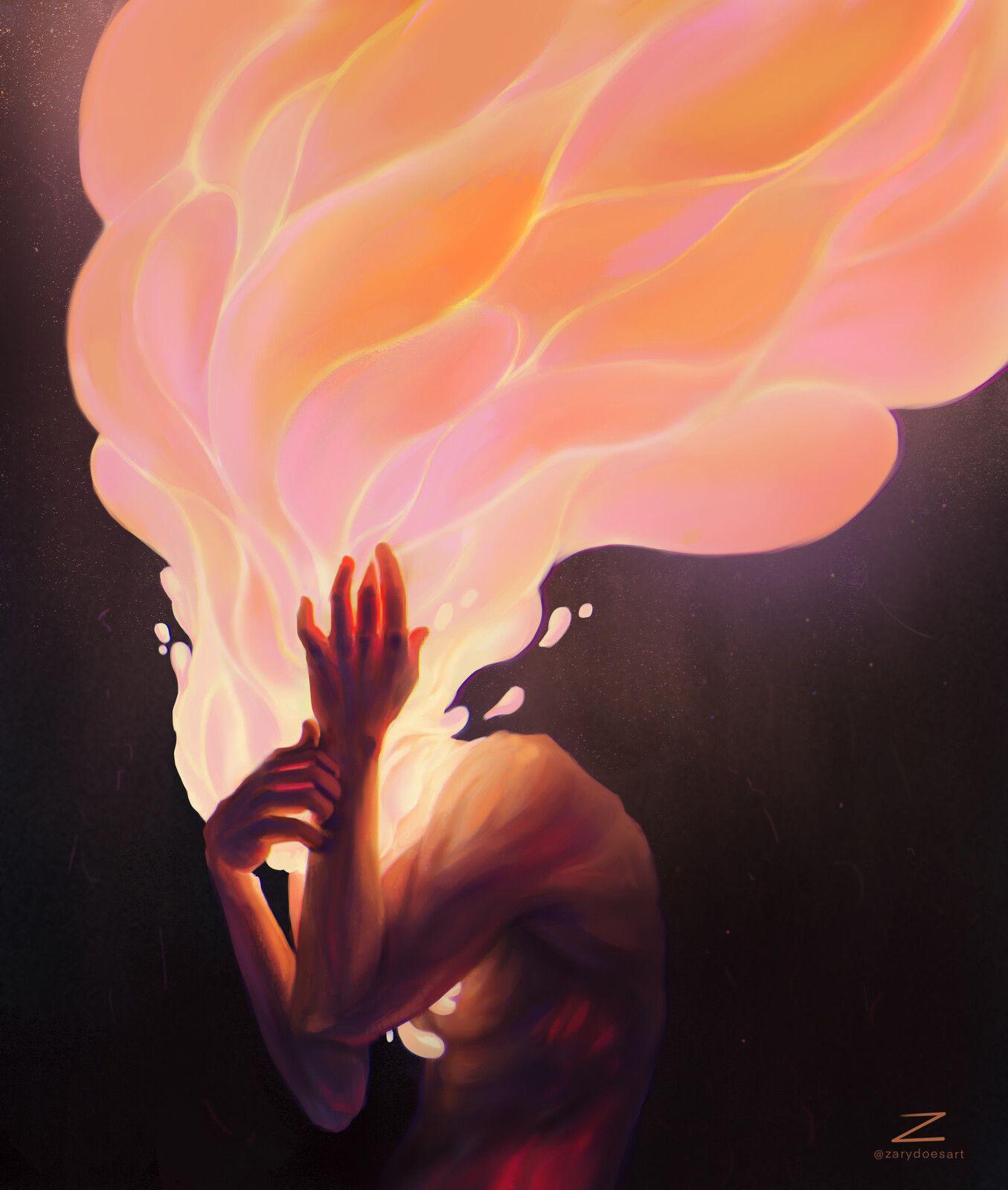 Burning Thoughts. , Petra Ramešová on ArtStation at https