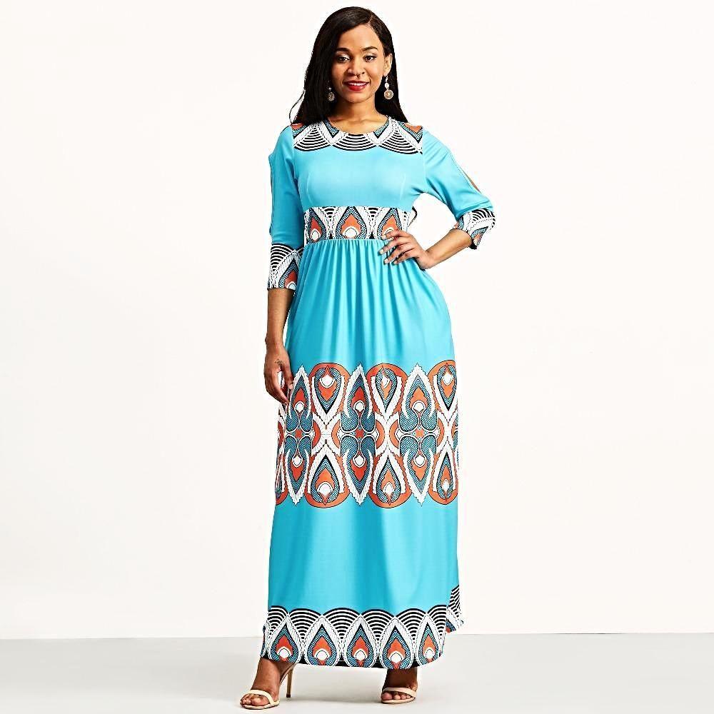 b0858d420fdd2 Geometric Ethnic Bohemian Expansion Color Block Maxi Dress