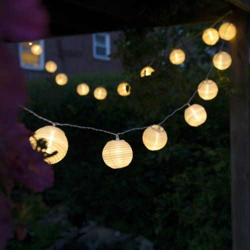 Qualizzi® Set Of 10 Warm White Chinese Lantern String Lights For Patio  10.86ft Long