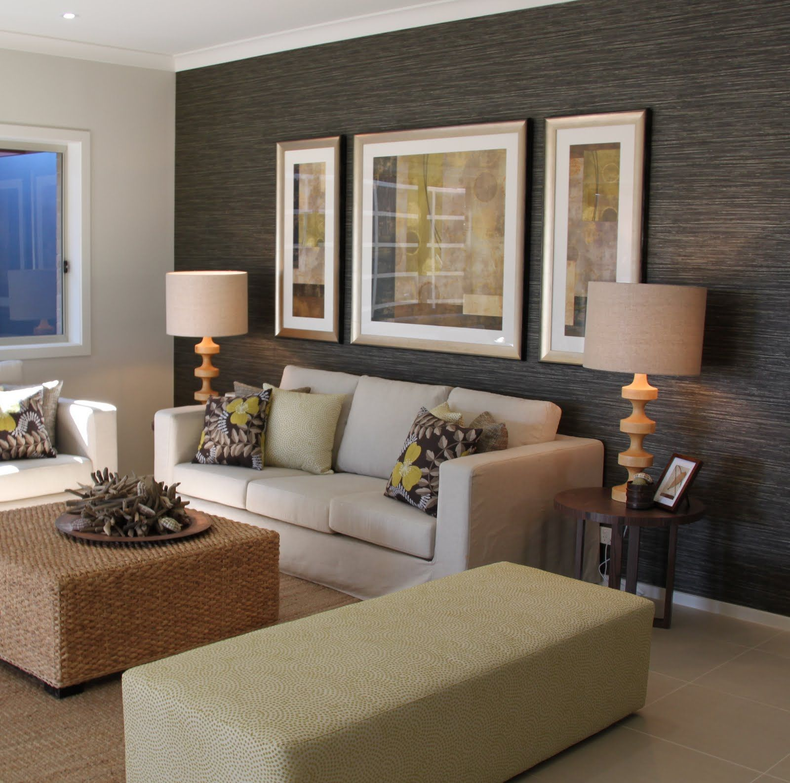 angela steyn interiors eco coastal house textured wallpaper darker feature wall in living room - Wallpaper Lounge Ideas