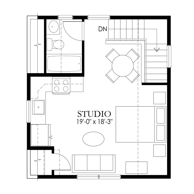 Apartments half garage single level craftsman garage and for Studio apartment floor plans pdf