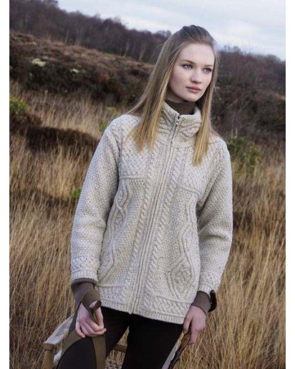 a65cec0ef49a  Aran Fisherman pattern Zipper  Cardigan. Perfect Autumn jacket. 100% Merino  wool.