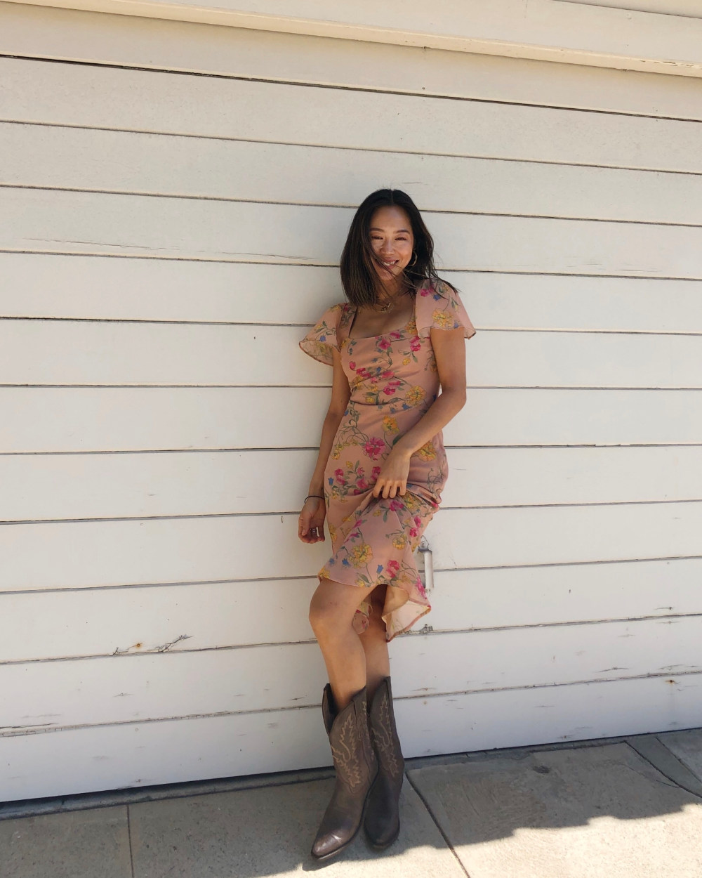 Cowboy Boots Are All You Need To Wear Summer Dresses In Fall Song Of Style Dresses With Cowboy Boots Summer Dresses Cowboy Outfits [ 1250 x 1000 Pixel ]