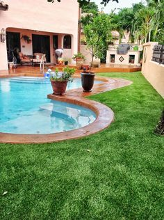 Image Result For Backyards With Astroturf And Small Pool Turf Backyard Artificial Grass Backyard Backyard Pool