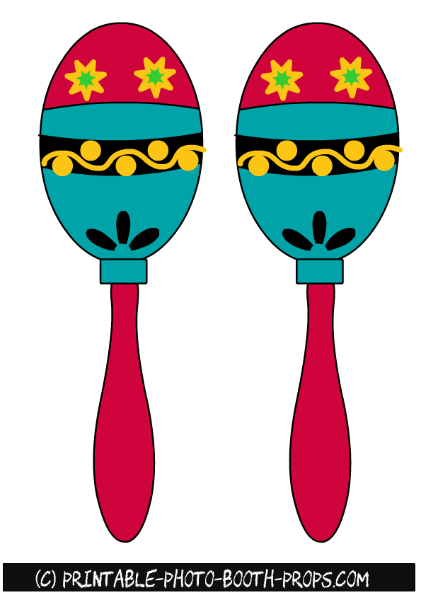 free printable colorful maracas photo booth props camila s 1st