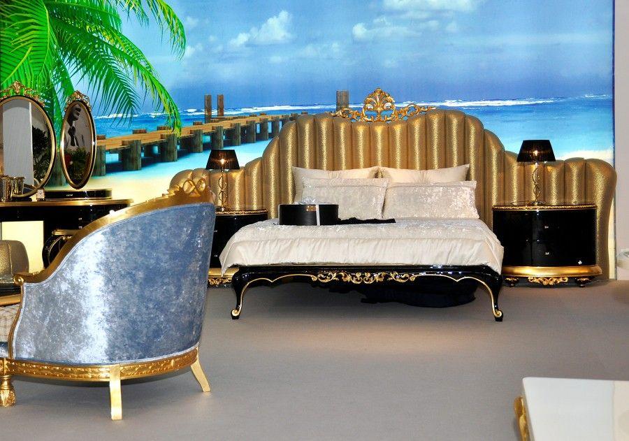 florence king size bed with gold leaf luxury king size bed designer beds - Garden Furniture King