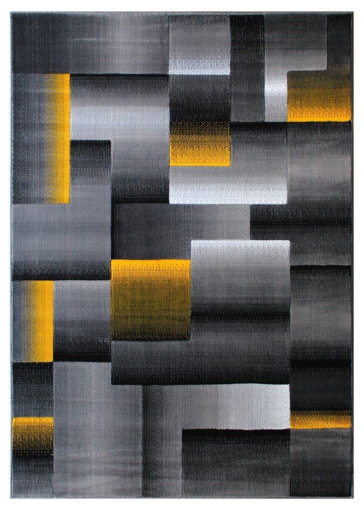 Masada Rugs Modern Contemporary Area Rug Yellow Grey Black 5 Feet X 7 Feet Check Out The Image By Visitin Area Rugs Modern Square Contemporary Area Rugs