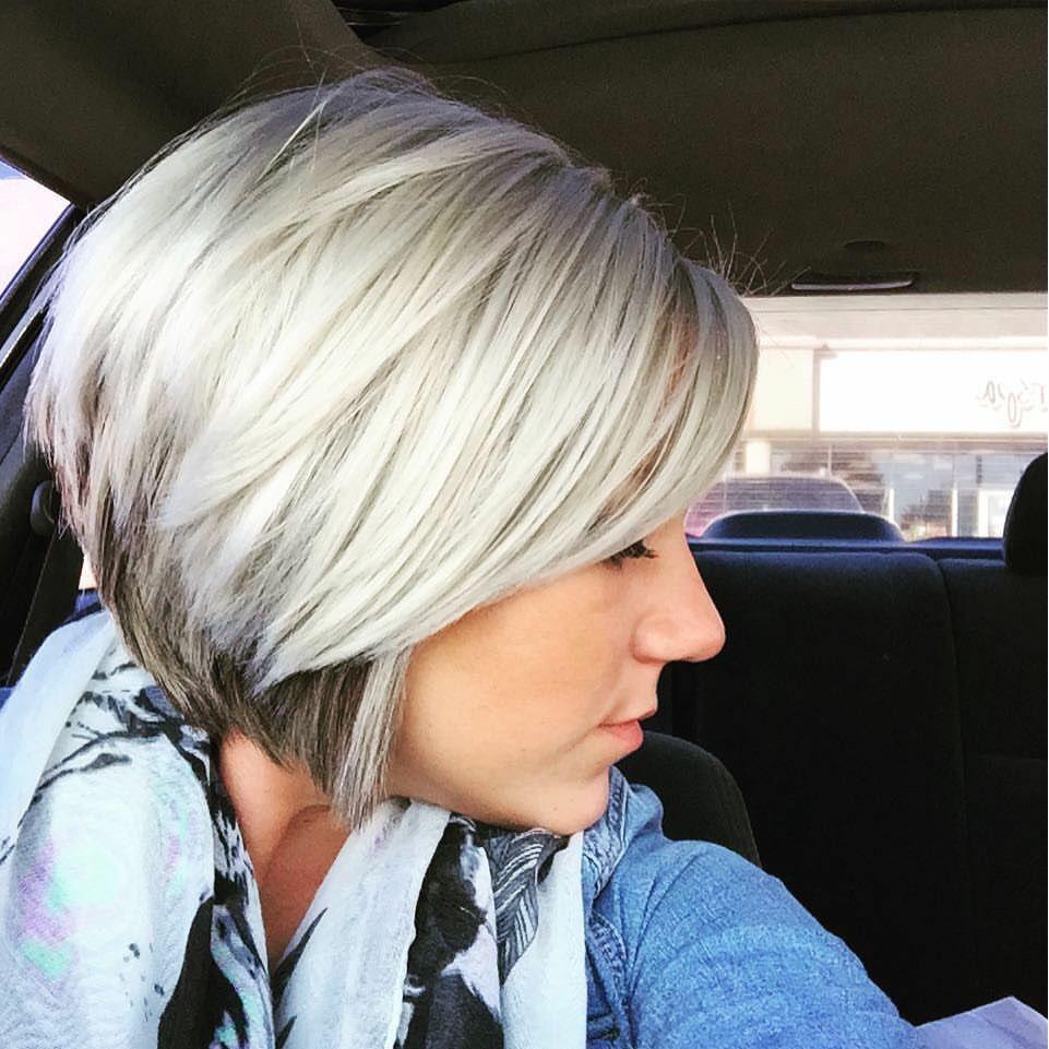 Platinum With A Hint Of Dark Highlights Underneath Bob Haircut For Fine Hair Thin Fine Hair Haircuts For Fine Hair