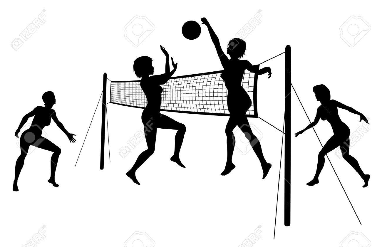 Siluetas de mujeres jugando voleibol de playa.   me encanta el ...