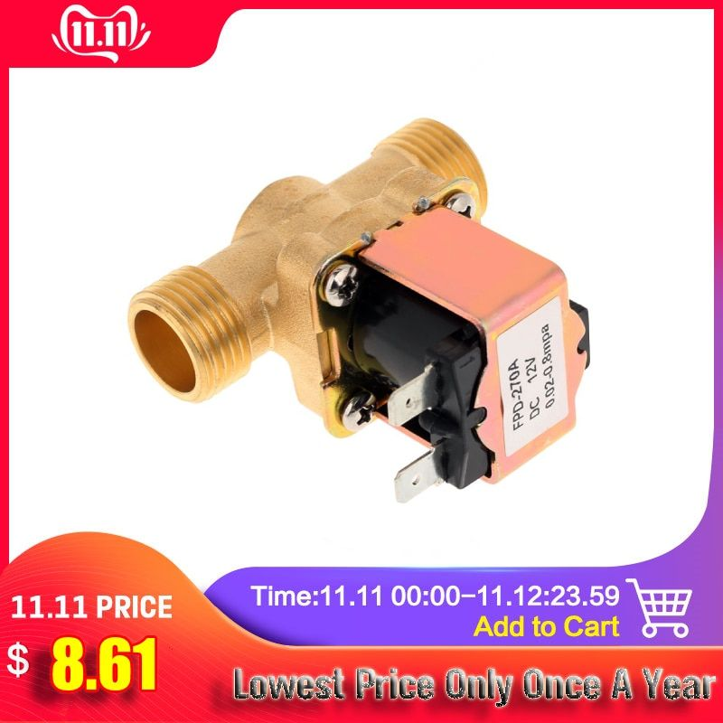 1pcs New Electric Solenoid Valve Magnetic Dc 12v N C Water Air Inlet Flow Switch 1 2 Brass Solenoid 12v Valve Attention Valid Inlet Valve Electricity