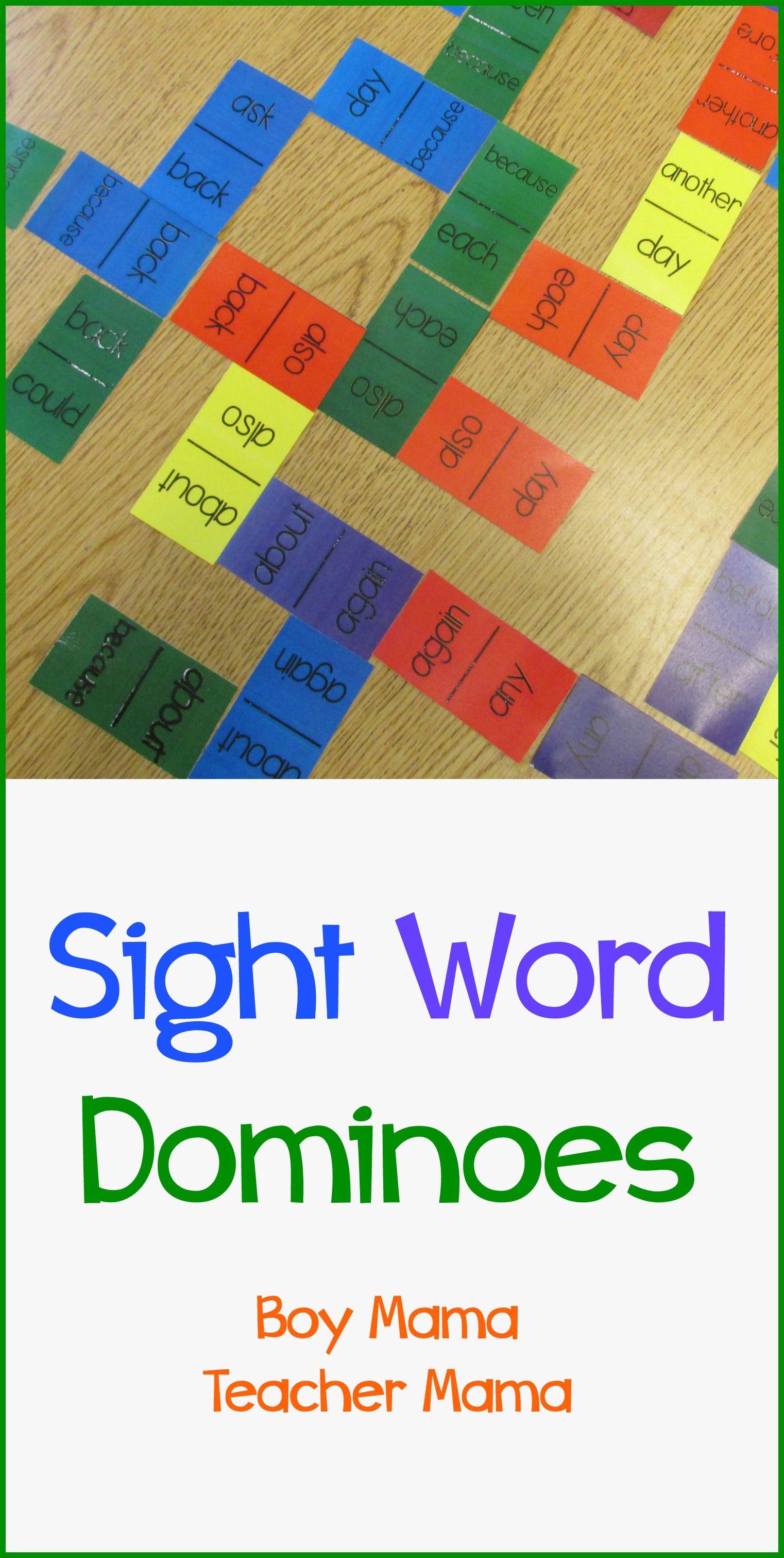 Teacher Mama Sight Word Dominoes