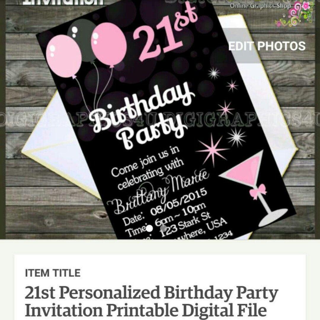 21st birthday party invitation Birthday party