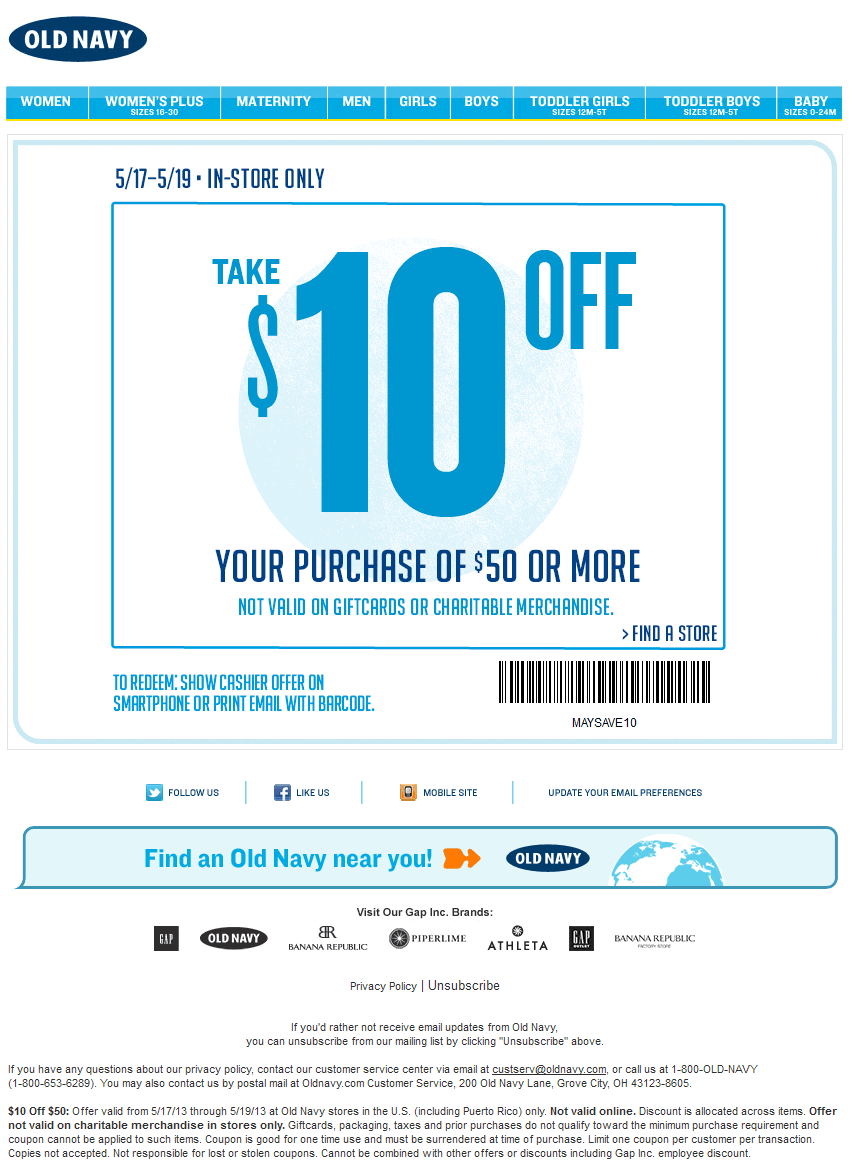 pinned may 17th: $10 off $50 this weekend at old navy coupon via the