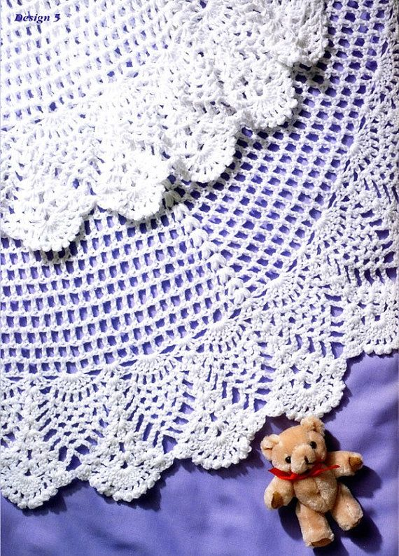 Babys Circular Christening Shawl In A Pineapple Pattern Crochet