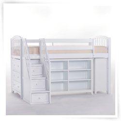 School House Storage Junior Loft with Stairs - White