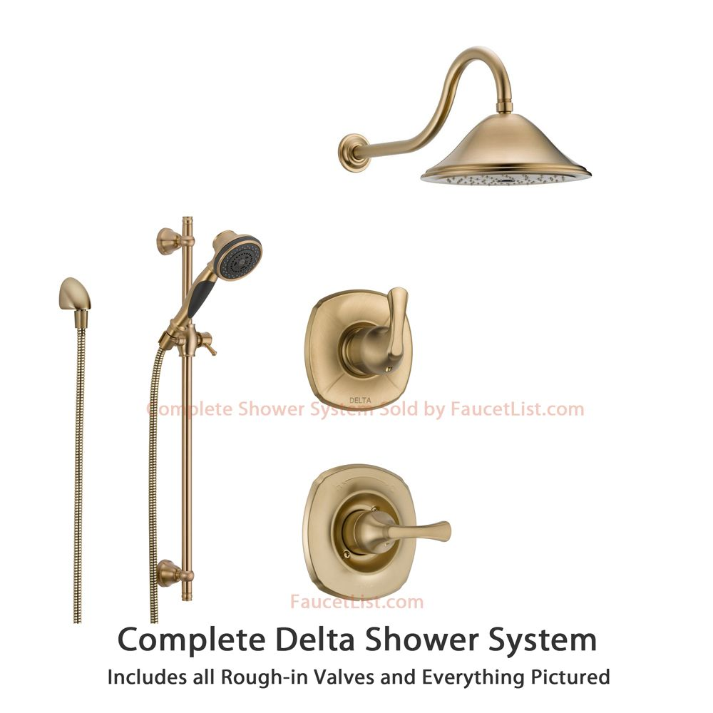 Delta Addison Champagne Bronze Shower System With Normal Shower Handle 3 Setting Diverter Large Rain Shower Head And Handheld Spray Ss149281cz Shower Systems Rain Shower Head Shower Heads