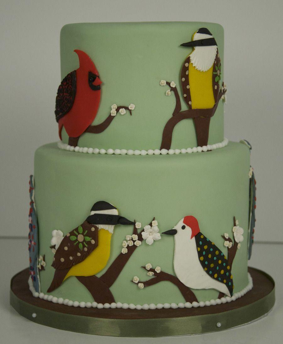 80Th Birthday Bird Cake A 2 tier green birthday cake with hand cut