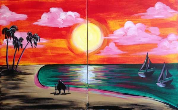 Everyone Loves A Trip To The Beach At Sunset Sit Side By Your Companion And Paint This Lovely Scene