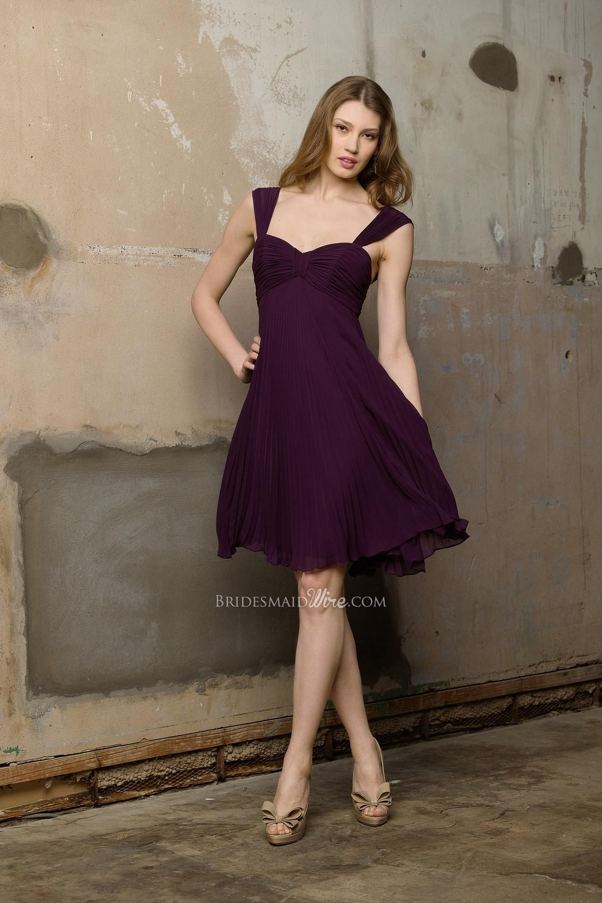 Wedding Plum Dresses plum pleated chiffon empire knee length dress with wide straps straps