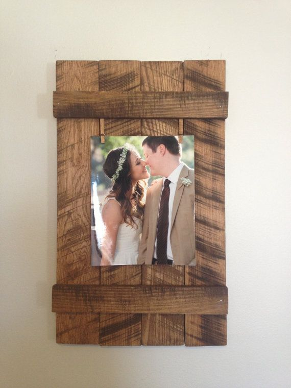 Rustic Wooden 8x10 Picture Frame Rustic Frame Clothespin Picture