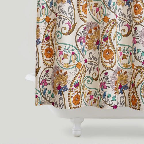 World Market Paisley Floral Shower Curtain Light Whimsical