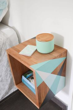 My Little Paris - DIY Do it Yourself table de nuit/d'appoint graphique mint vert d'eau gris anthracite