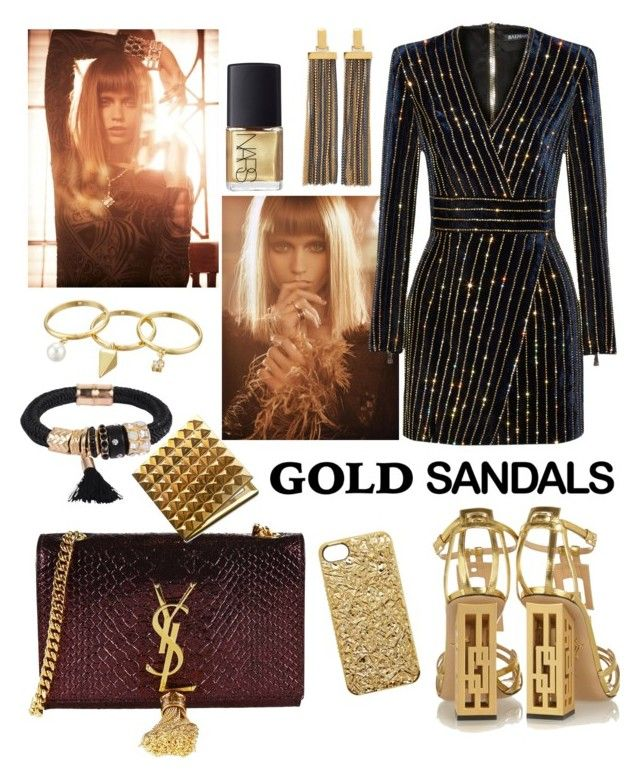 """""""disco gold"""" by kc-spangler ❤ liked on Polyvore featuring Charlotte Olympia, Balmain, Yves Saint Laurent, Marc by Marc Jacobs, Rebecca Minkoff, Diane Von Furstenberg, Patchington, NARS Cosmetics, gold and glam"""