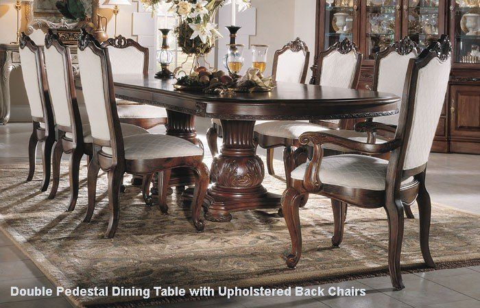 American Drew Bob Mackie Seven Piece Double Pedestal Table Dining Set