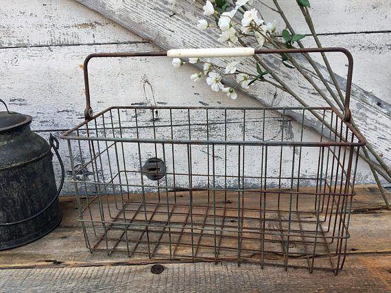 Vintage Wire Market Basket  Swing Handle