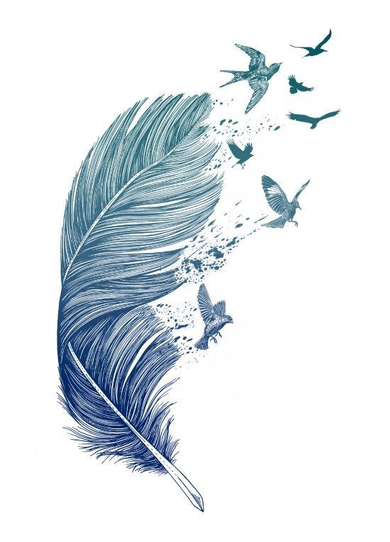 Idee Tatouage Oiseaux Qui Sortent D Une Plume Plumes Graphique