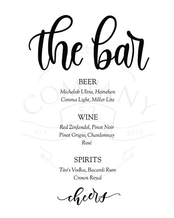 Wedding Bar Menu List Of Alcohol For Reception Wedding Bar List