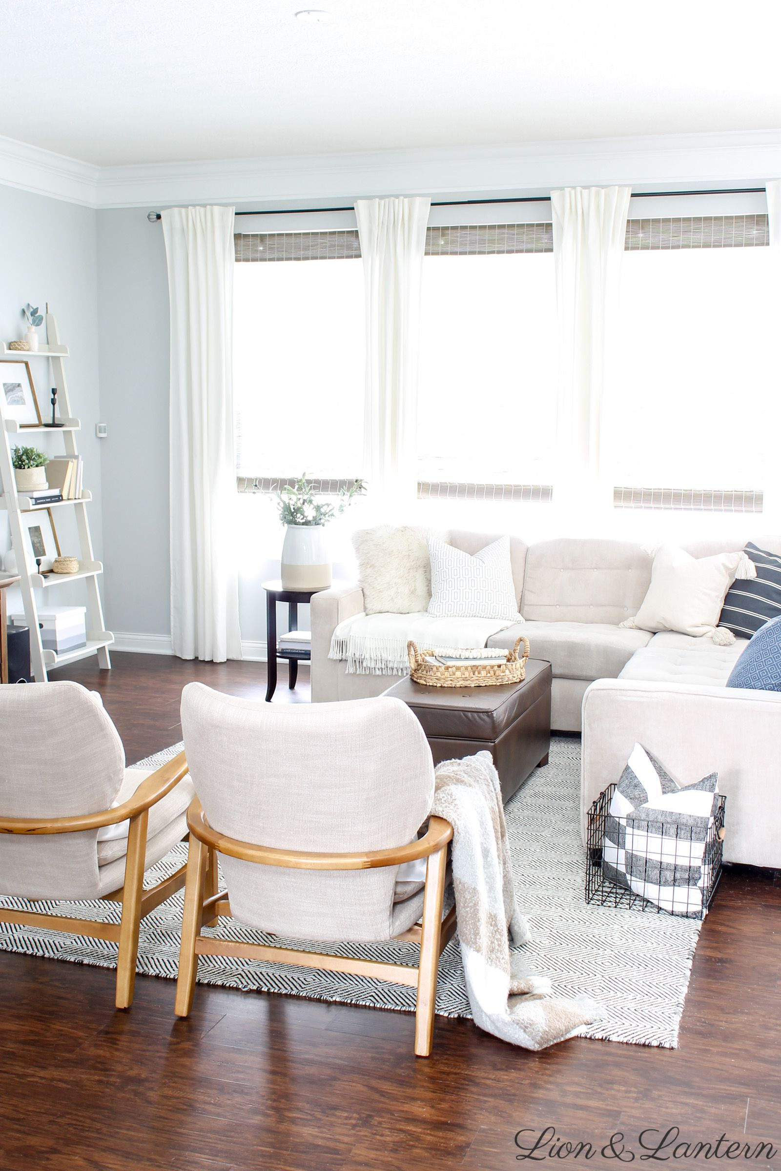 Cozy Coastal Living Room at LionAndLantern.com  coastal farmhouse