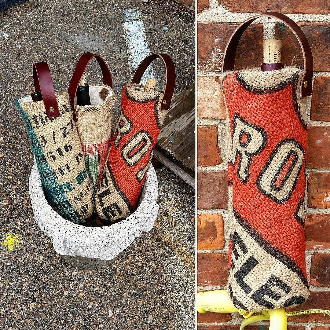 Spending today making wine totes out of burlap coffee bean sacks. These have become our most popular items over the past year. Get one today and show up for your next dinner party in style!  #coffee #coffeeart #coffeegram #coffeetime  #upcycling #recycling #repurposed #style #ecochic #ecofashion #fashion #fashionmodel #model #fashionmagazine  #sustainability #csr #fairtrade #rustic #justice #Vermont #burlingtonVT #Burlington #madeintheusa #leather #wine #winetote #beautiful #travelgram…