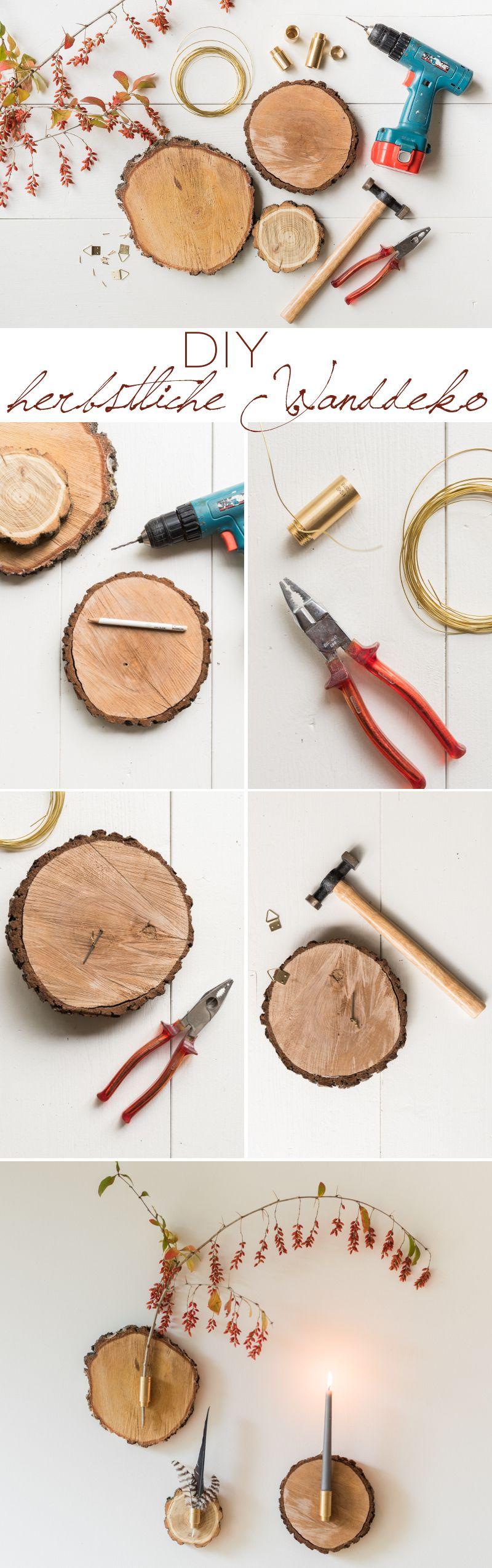 Trend DIY herbstliche Wanddeko aus Baumscheiben