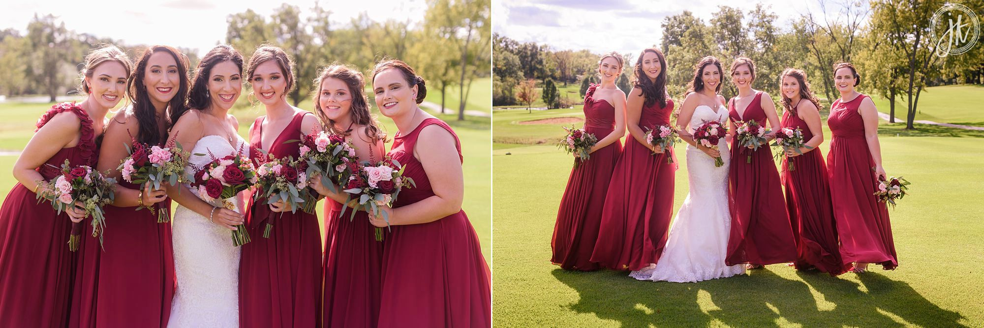 Columbia country club in columbia missouri bride and bridesmaids