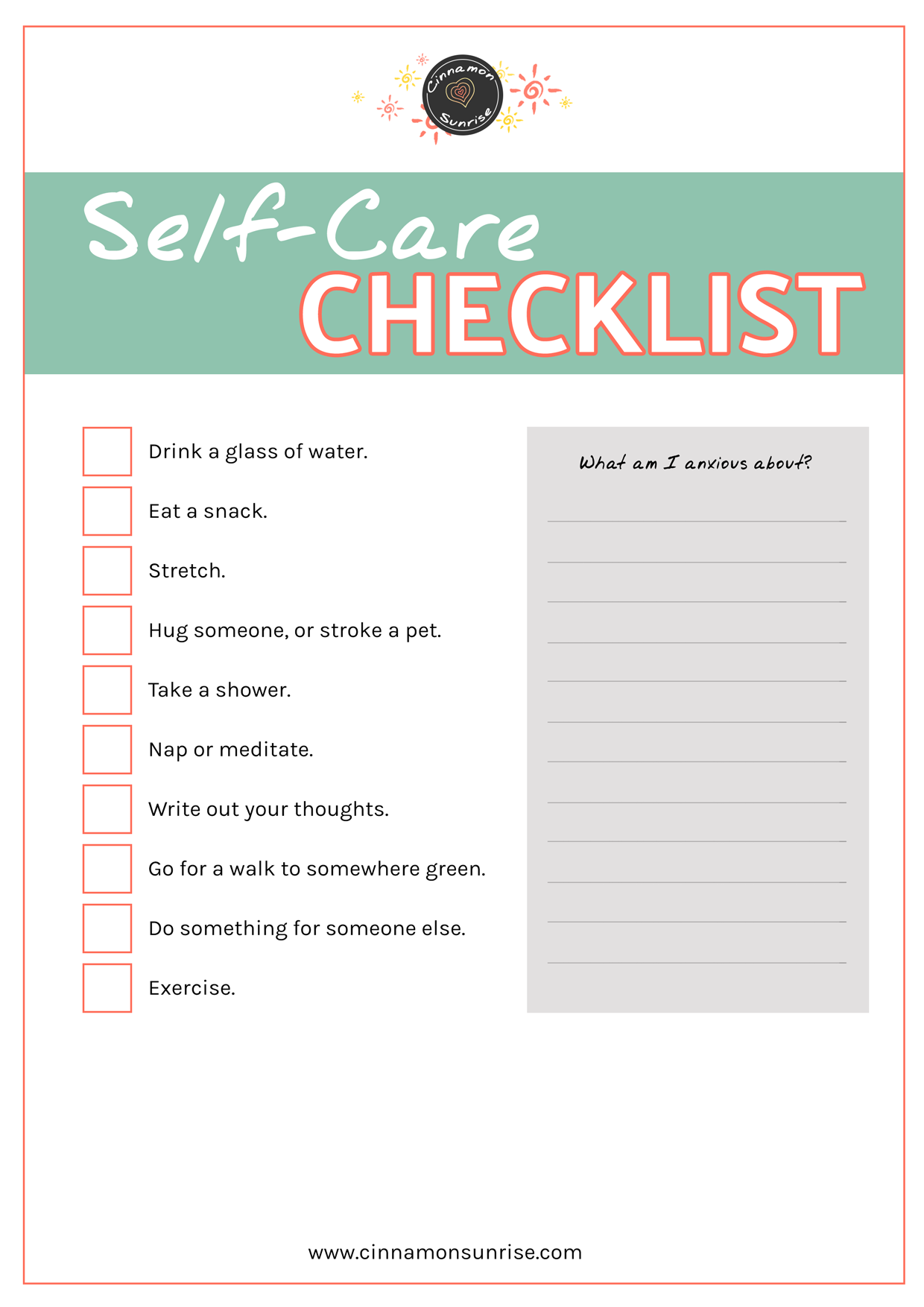 Self Care Checklist Free Printable