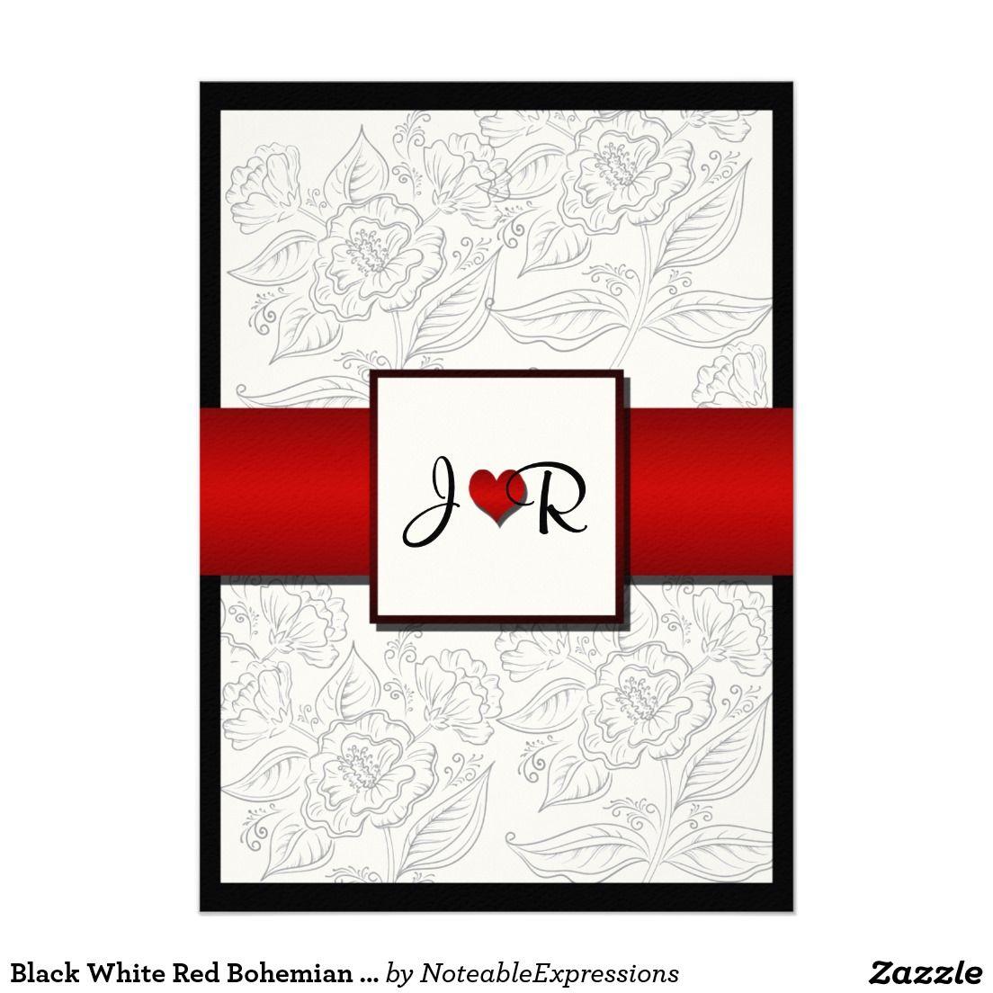 Black White Red Bohemian Posh Wedding Invitation | Black white red ...