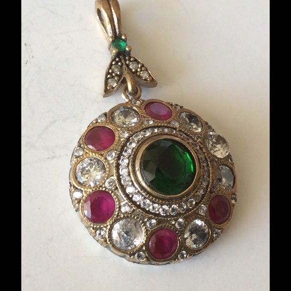 "SALE925 Sterling Silver RubyEmerald  Pendant Beautiful elegant 925 Sterling Silver and bronze, Emerald Ruby Topaz Pendant 10.40 Games, Head size is 1 1/8"". Turkish style Jewelry Necklaces"