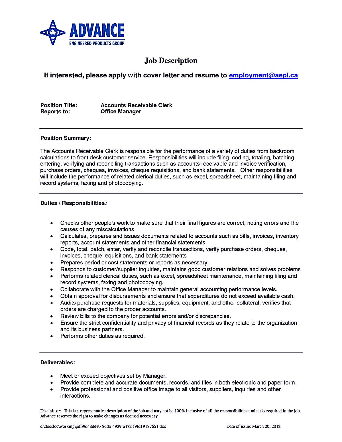 resume example writing samples accounts receivable and