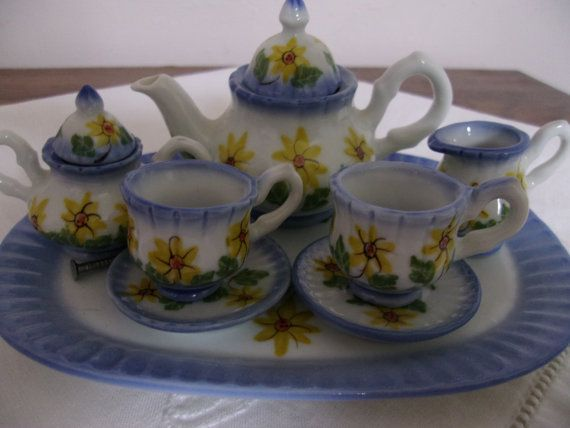 Collectible+Miniature+glass+tea+sets | Sunflower Miniature Eight Piece Tea Set Blue White Collectible