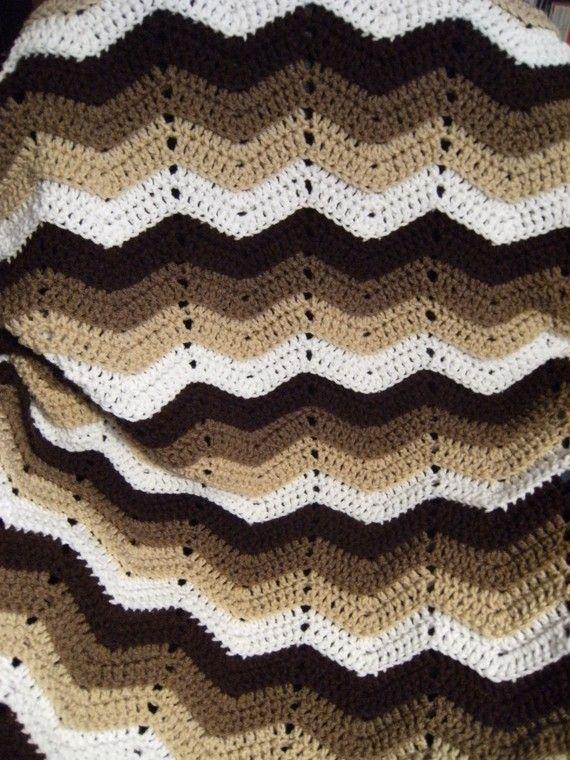 Neutral Tones Crochet Ripple Afghan | Crochet Chevrons | Pinterest ...